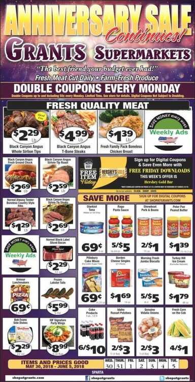 grants supermarket weekly ad SPARTA only