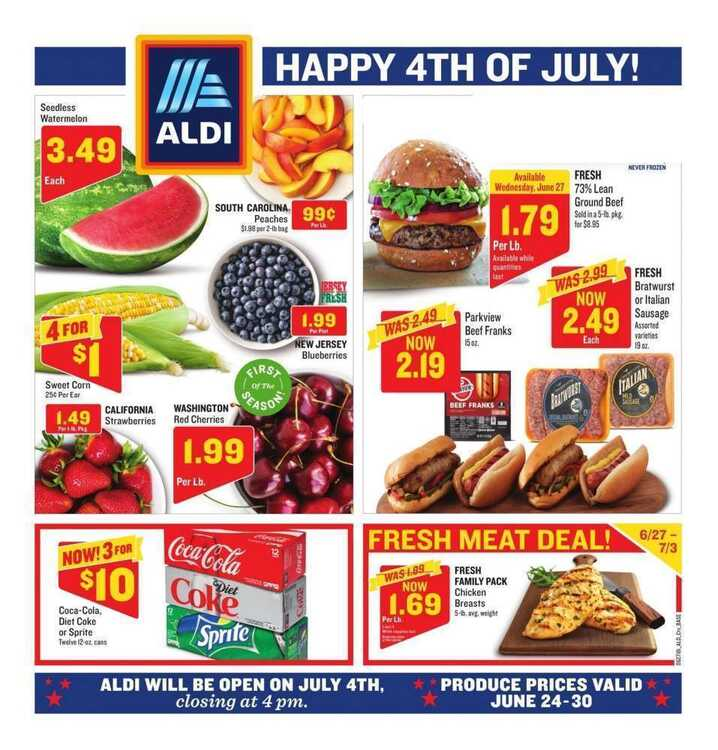 aldi weekly ad this week 6/25 to 6/30 Happy 4TH Of July!