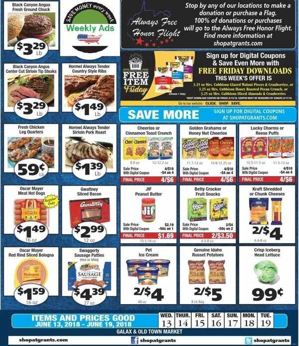 Grant's weekly ad Galax ONLY specials for June 13 - 19 2018