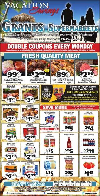 grants supermarket weekly ad oak hill wv 7/28 to 8/3 2018