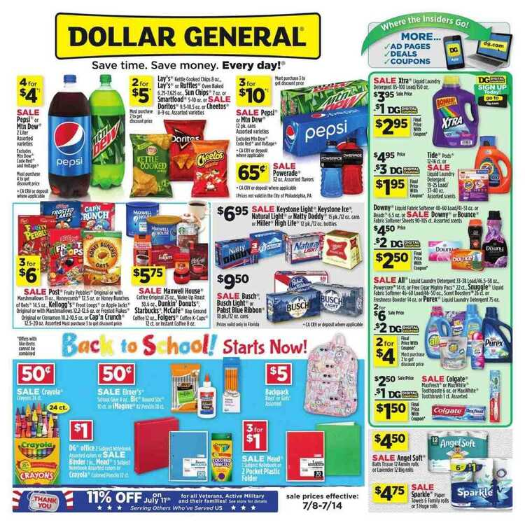 dollar general store weekly ad valid to July 14 2018