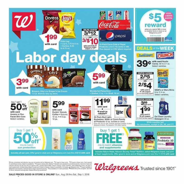 walgreens weekly ad 8/28 to 9/1 2018 Labor Day Deals
