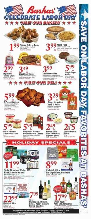 bashas weekly ad 8/31 to 9/3 2018 4 Day Holiday Sale