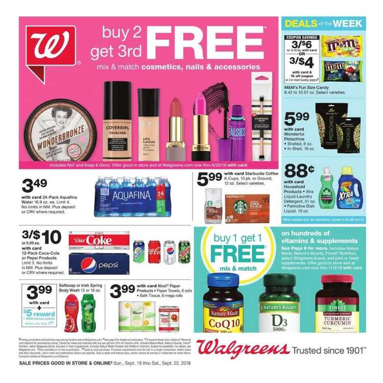 walgreens weekly ad 9/18 to 9/22 2018 Buy 2 get 3rd Free