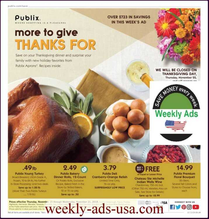 publix weekly ad november 15 - 21 2018 Thanks Giving Deals